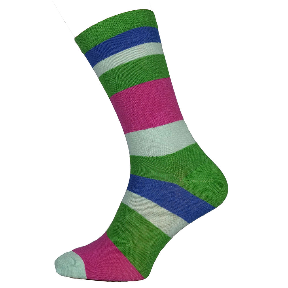 Wide Stripe Green Top Bamboo Socks Size 7-11