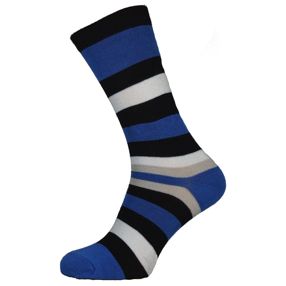 Blue and Black Stripe Bamboo Socks Size 7-11