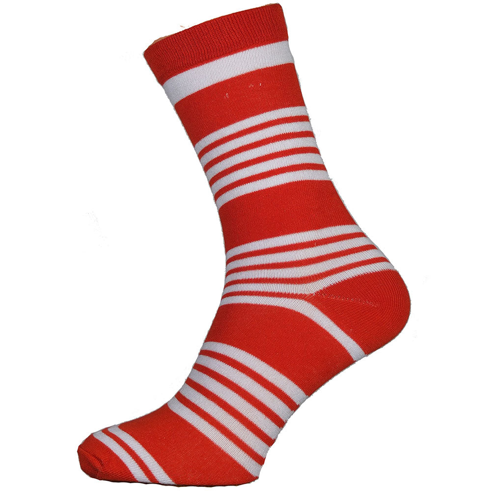 Red and White Stripe Bamboo Socks Size 7-11