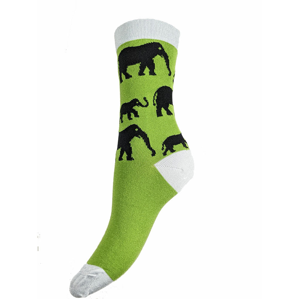 Green Elephant Bamboo Socks Size 4-7