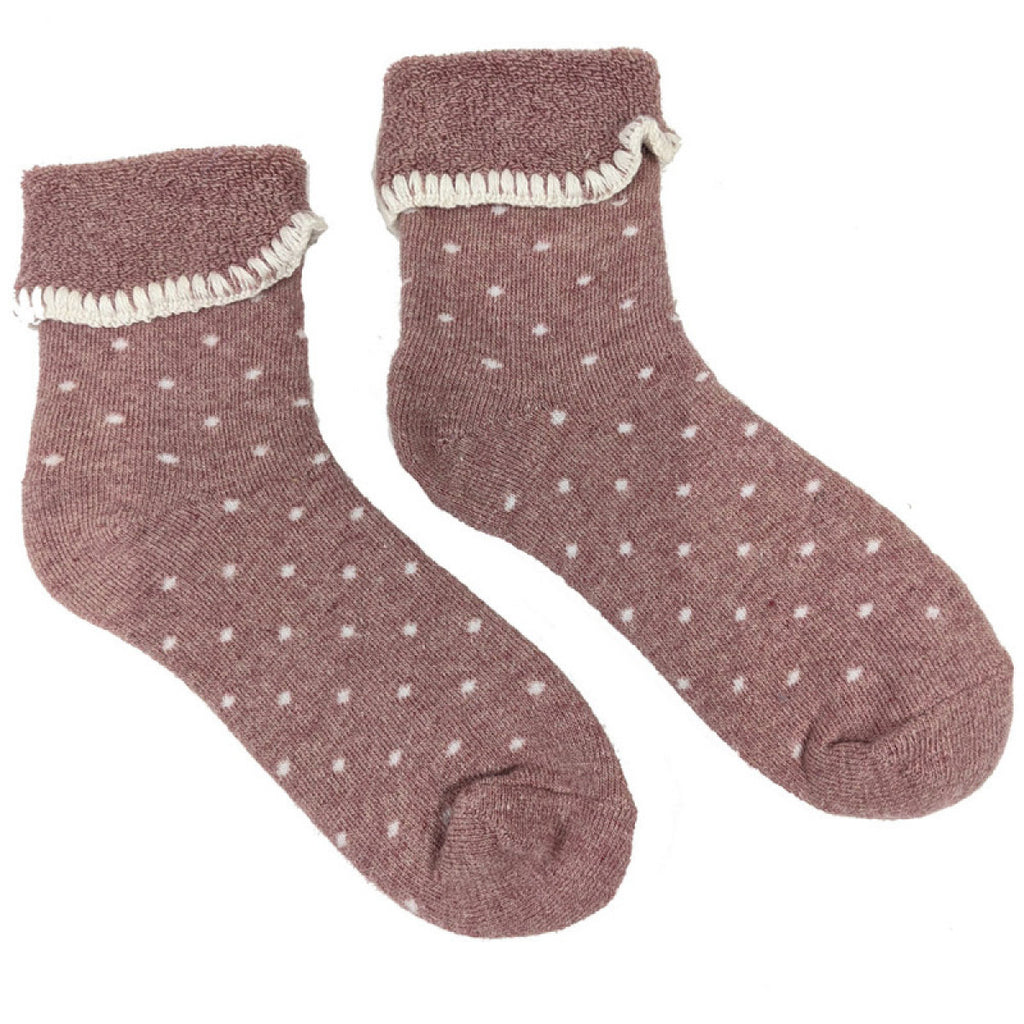Pink Cuff Socks With Cream Dots