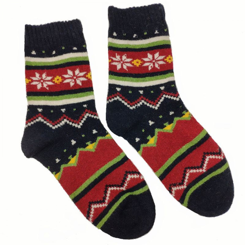 Black Red And Green Scandi Wool Blend Socks