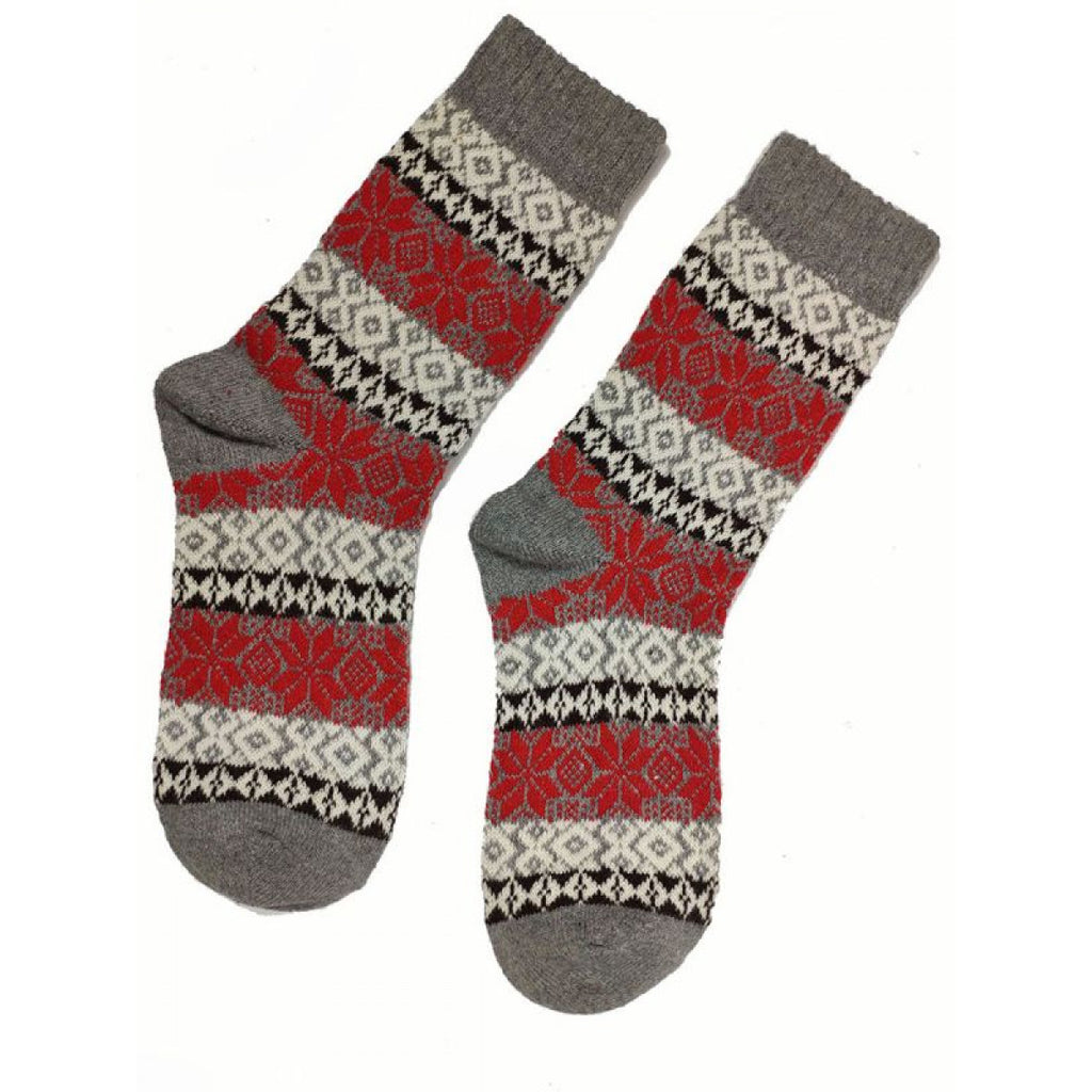 Grey And Red Fairisle Wool Blend Socks