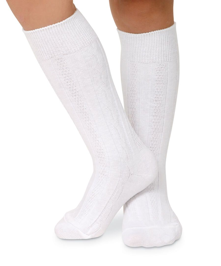 Jefferies Classic Cable Knee High Socks - White