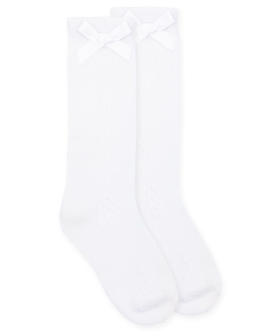 Jefferies Pointelle Bow Knee High Socks- White