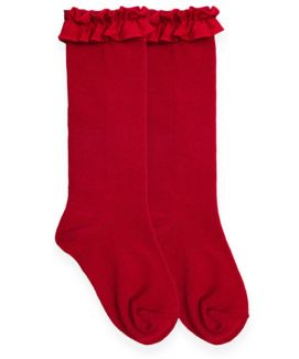 Jefferies Ruffle Knee High Socks - Red