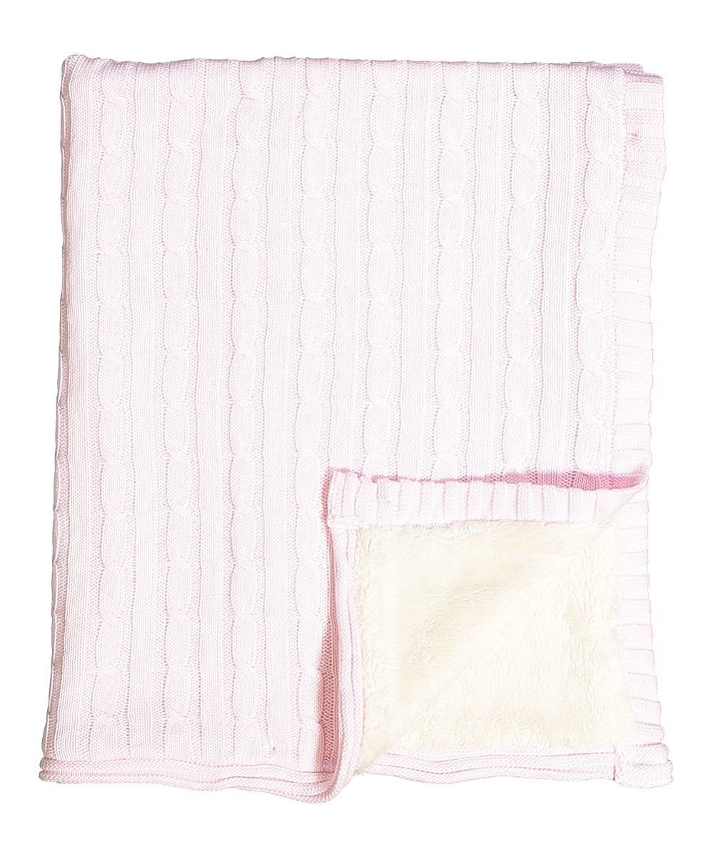 Cable Knit Sherpa Blanket - Light Pink