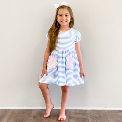 Out & About Knit Pocket Dress - Cloud Stripe