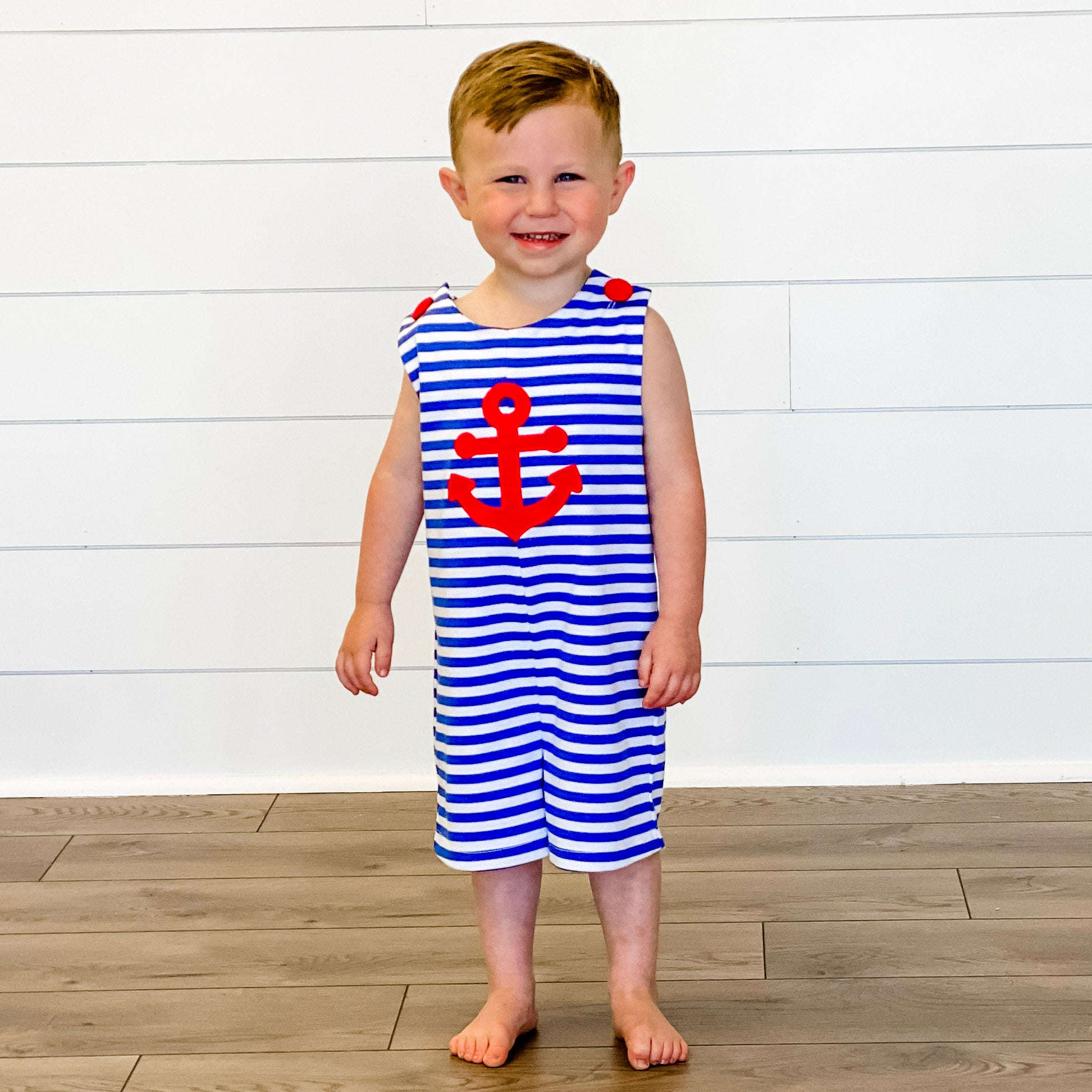 Appliqué Anchor Shortall - Royal Blue Stripe Knit - Stellybelly