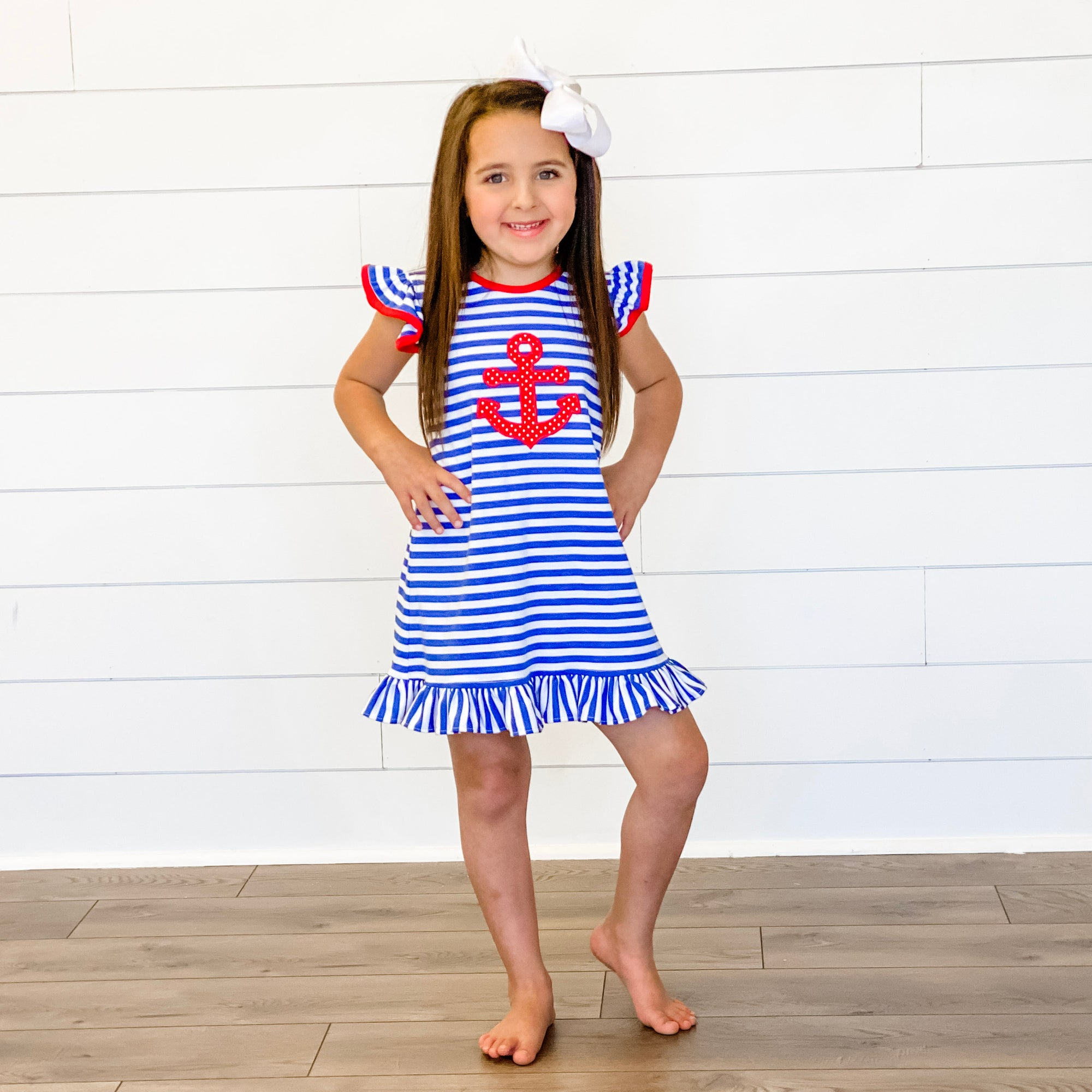 Appliqué Anchor Dress - Royal Blue Stripe Knit
