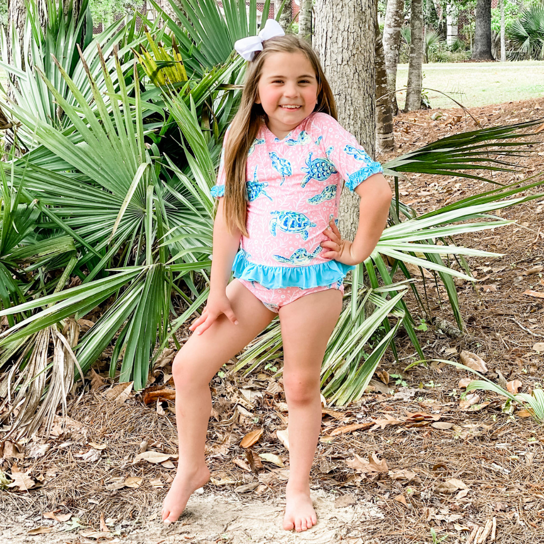 Sea Turtle Short Sleeve Rash Guard Two-Piece - Stellybelly