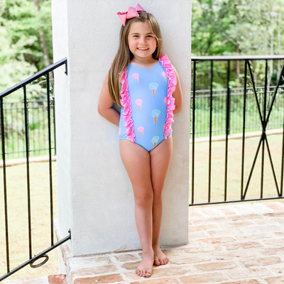 Ice Cream Ruffle One Piece Swimsuit - Stellybelly