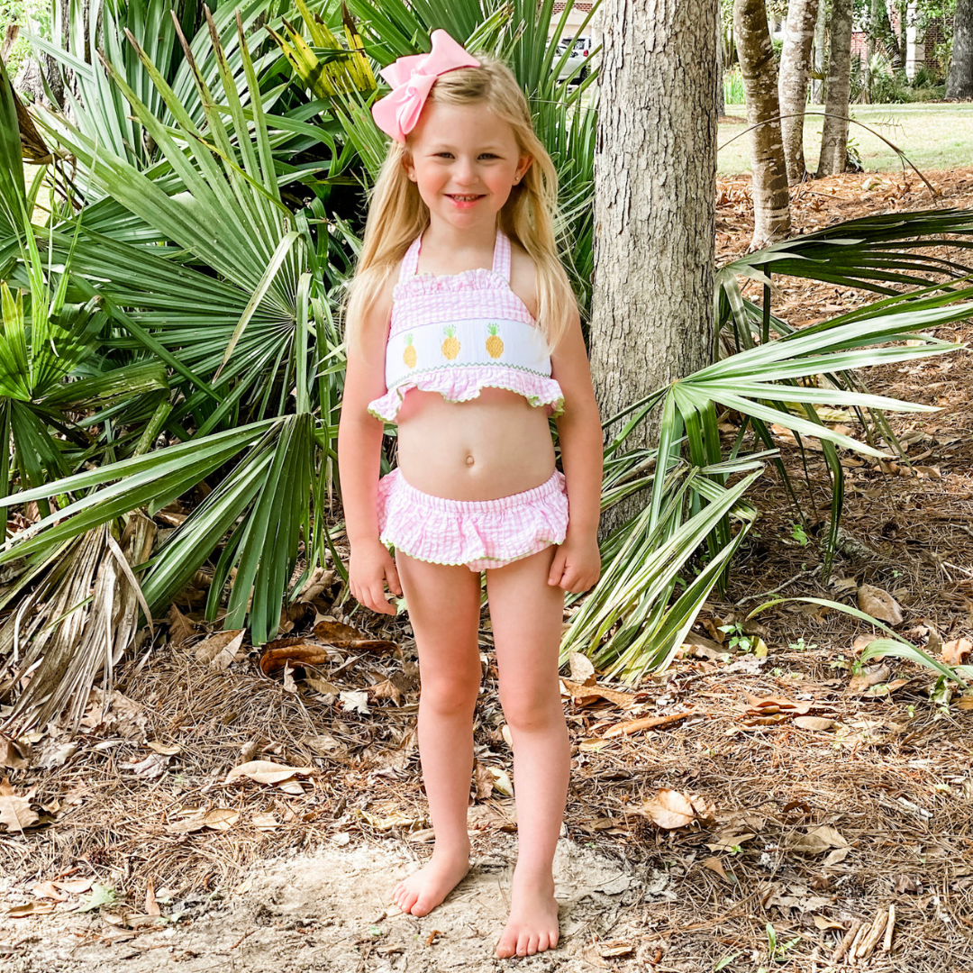 Smocked Pineapples Two-Piece Swimsuit - Pink Check Seersucker - Stellybelly