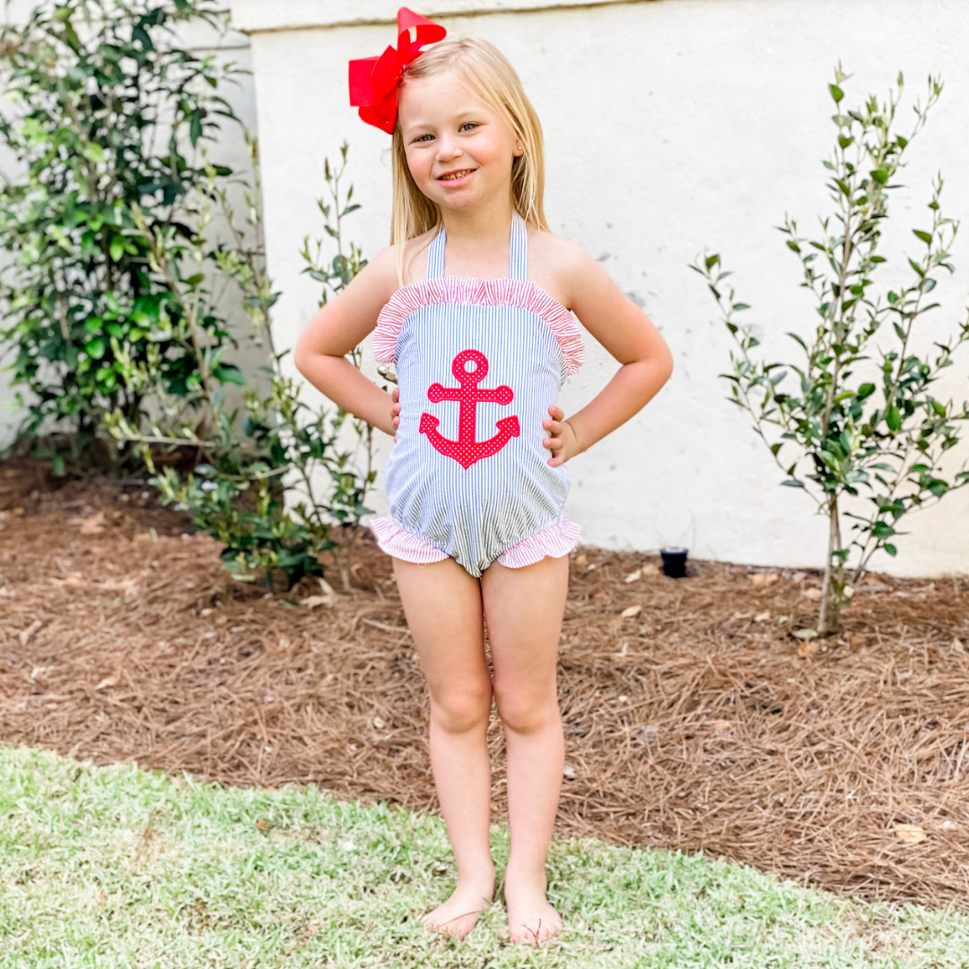 Appliqué Anchor Swimsuit - Royal Blue Stripe Seersucker - Stellybelly