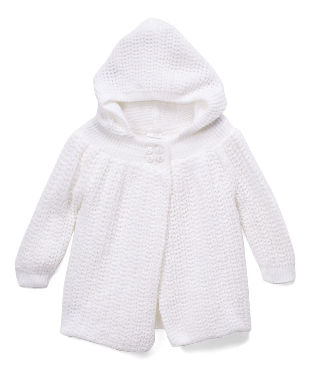 Knit Hooded Sweater Coat - White