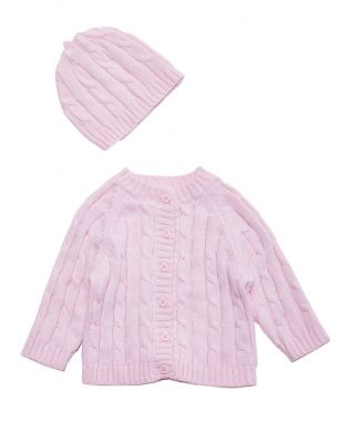 Signature Cardigan & Hat Gift Set - Pink