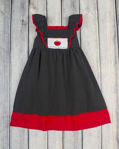 Smocked Red Apple Peasant Dress - Girls - Stellybelly - 1