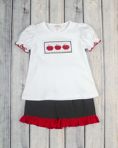 Smocked Red Apple Ruffle Short Set - Girls - Stellybelly - 1