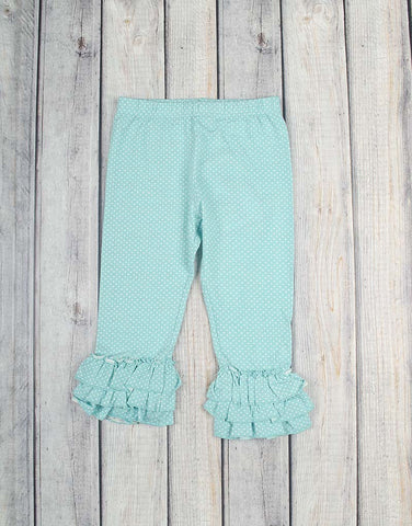 Aqua White Dot Knit Ruffle Capri - Girls - Stellybelly - 1