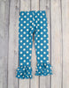 Teal Dot Ruffle Leggings - Girls - Stellybelly - 1