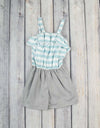 Aqua/Grey Emrie Romper - Girls - Stellybelly - 1