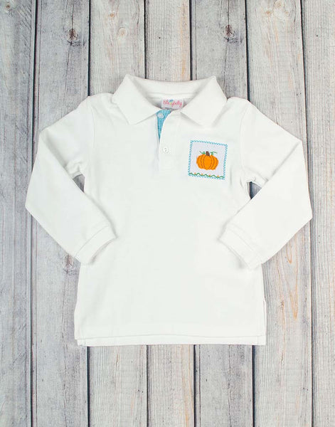 Aqua Gingham Pumpkin Smocked LS Polo - Boys - Stellybelly - 1