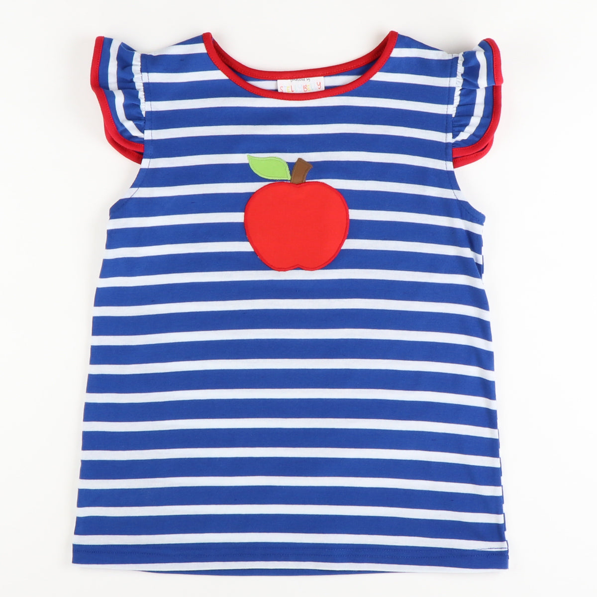 Appliquéd Apple Flutter Top - Blue Stripe