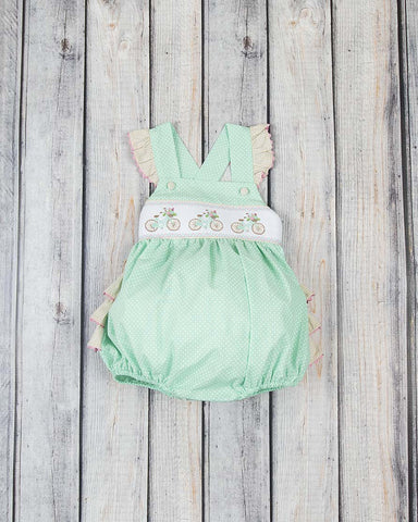 Smocked Bicycle Ruffle Bubble - Girls - Stellybelly - 1