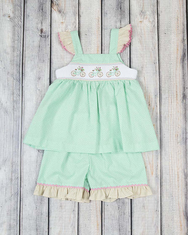 Smocked Bicycle Tank Short Set - Girls - Stellybelly - 1