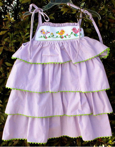 Smocked Bird On a Vine Tiered Ruffle Dress - Girls - Stellybelly