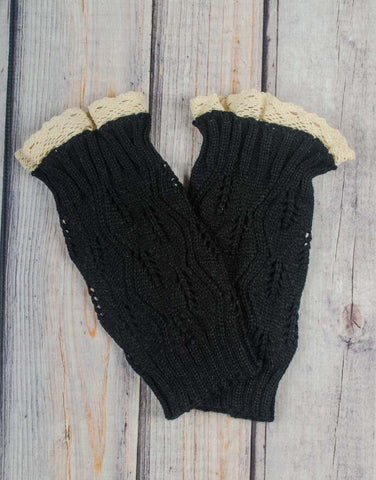 Black Lace Boot Cuffs - Girls - Stellybelly - 1
