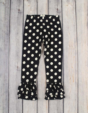 Black Dot Ruffle Leggings - Girls - Stellybelly - 1
