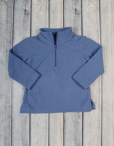 Unisex Dusty Blue Mono Half-Zip Fleece Pullover - Unisex - Stellybelly - 1