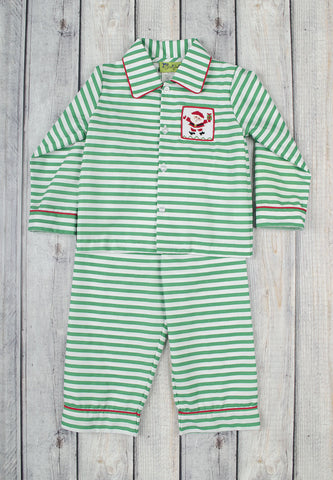 Smocked Santa Striped Boys Loungewear - Boys - Stellybelly - 1