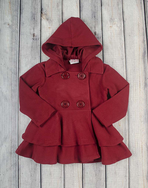 Brick Red Fleece Peacoat - Girls - Stellybelly