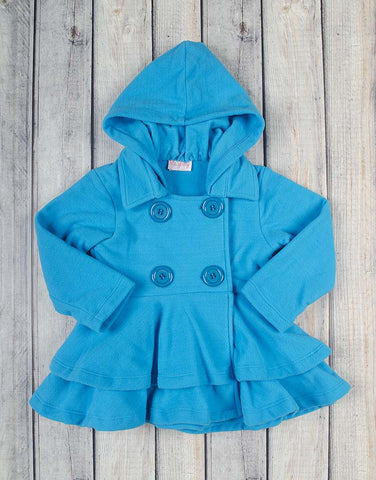 Bright Aqua Fleece Peacoat - Girls - Stellybelly