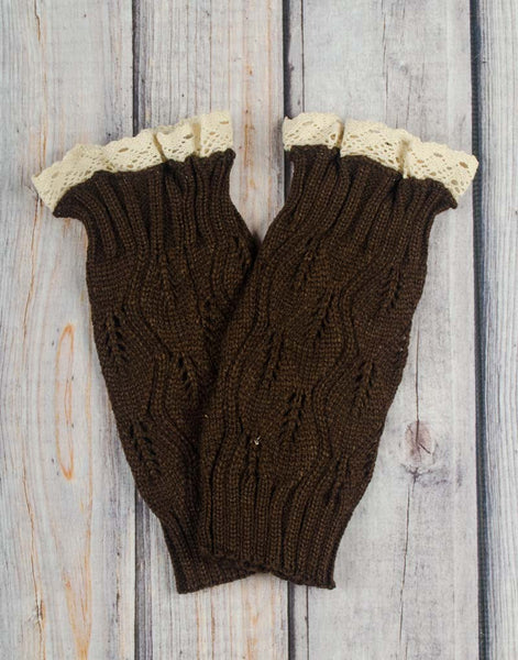 Brown Lace Boot Cuffs - Girls - Stellybelly - 1