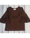 Brown Knit Jordan Ruffle Shirt - Girls - Stellybelly - 1