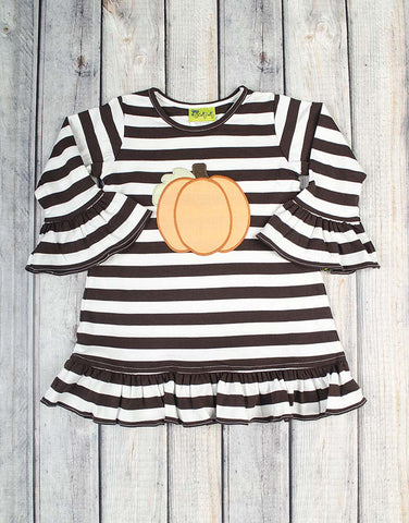 Brown Pumpkin Applique Ruffle Dress