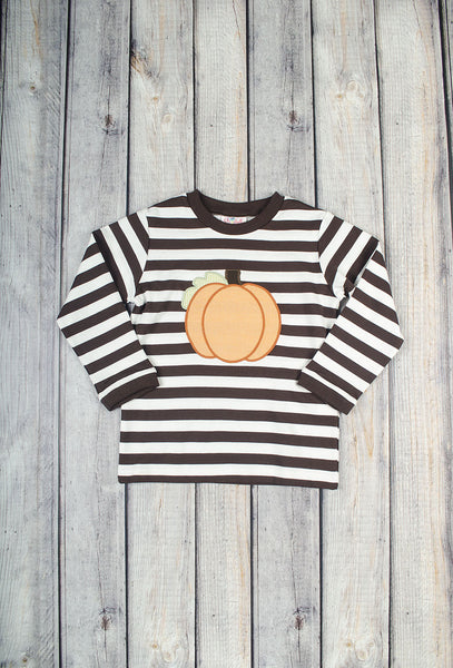 Brown Pumpkin Applique LS Shirt