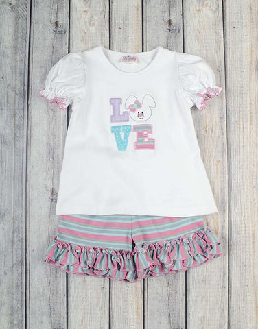 Bunny Love Applique Ruffle Short Set - Girls - Stellybelly - 1