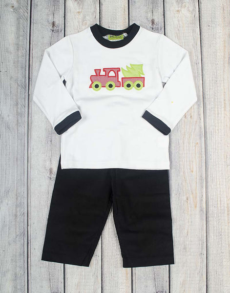 Christmas Tree Train Applique Boys Pant Set - Boys - Stellybelly