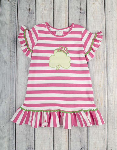 Clover Applique Stripe Dress - Girls - Stellybelly - 1