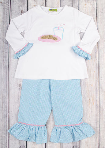 Milk and Cookies Ruffle Pant Set
