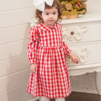 Holiday Red & White Check Dress