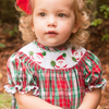 Smocked Joy Santa Plaid Bishop