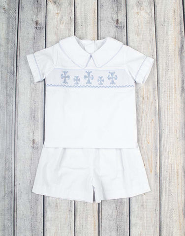 Smocked Cross Chambray Short Set - Boys - Stellybelly - 1