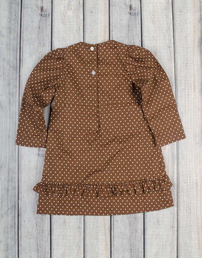 Brown/Pink Dot Presley Ruffle Dress - Girls - Stellybelly - 2