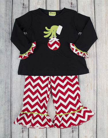 Grinch Applique Ruffle Pant Set - Girls - Stellybelly - 1