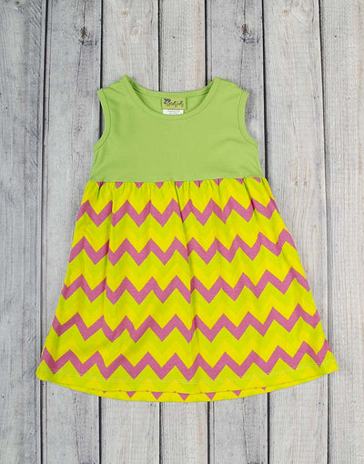 Green Multi-Chevron Kelly Dress - Girls - Stellybelly - 1
